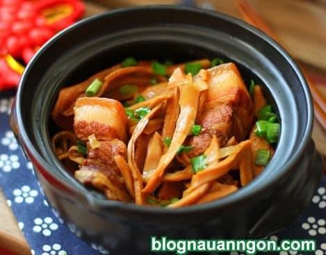 thịt kho, cách làm thịt kho măng khô, món ngon