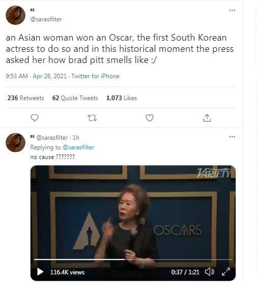 oscar 2021, brad pitt, youn yuh jung
