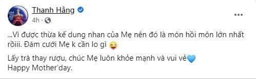 Thanh Hằng, siêu mẫu, mẹ siêu mẫu Thanh Hằng, ngày của mẹ, sao Việt