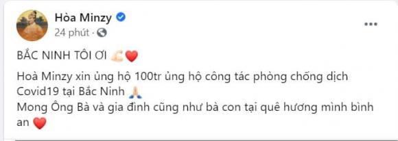 Hòa Minzy, dịch Covid-19, ca sĩ Hòa Minzy