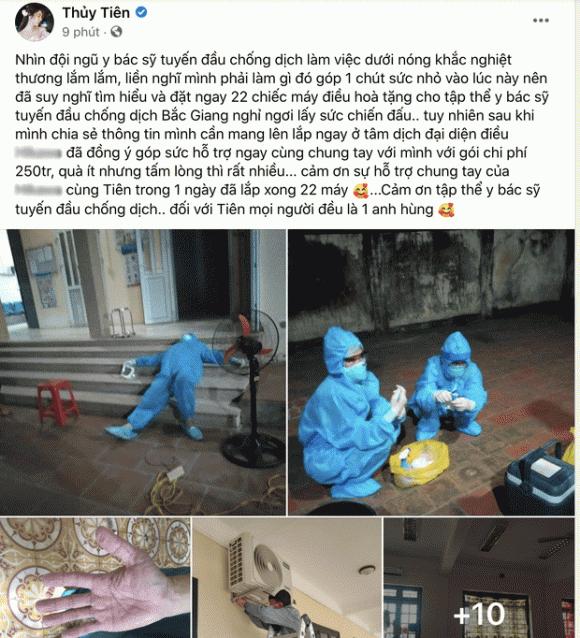 Thuỷ Tiên, từ thiện, chống dịch Covid-19, Bắc Giang, sao Việt