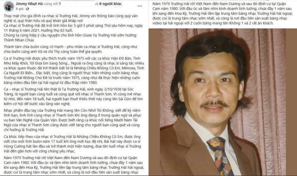 Hương Lan, Chế Thanh, Ca sĩ Trường Hải qua đời