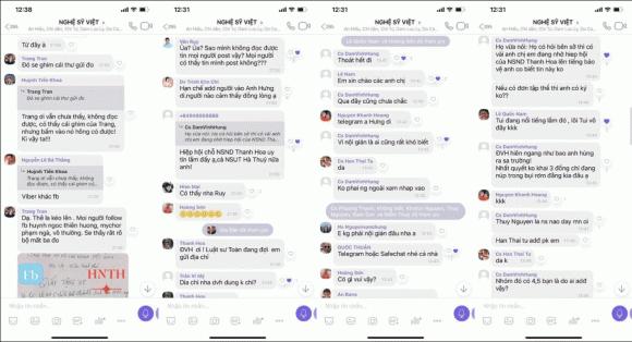 group chat Nghệ sĩ Việt, Phương Thanh, Nguyễn Phương Hằng, sao Việt,