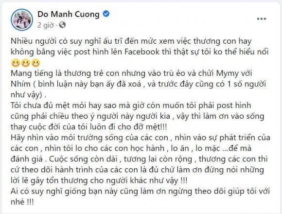 Đỗ Mạnh Cường, con nuôi Đỗ Mạnh Cường, sao Việt