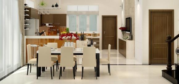 Phòng ăn đặt đối diện cửa chính , phong thủy nhà, đại kỵ phong thủy