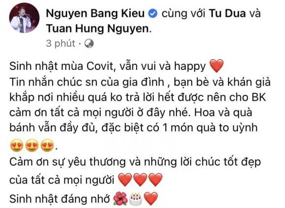 Bằng Kiều, Tuấn Hưng, sinh nhật mùa Covid, sao Việt