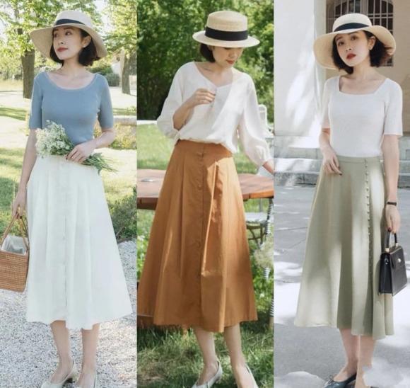 chân váy, phụ nữ 40, thời trang tuổi trung niên, thời trang hè