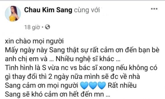 Chau Kim Sang cho biết 2 ngày nữa cô sẽ được về nhà sau cơn bạo bệnh