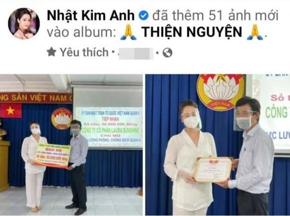 Nhật Kim Anh, làm từ thiện, giúp đỡ người dân mùa dịch, quyên góp, mua lương thực, sao Việt,