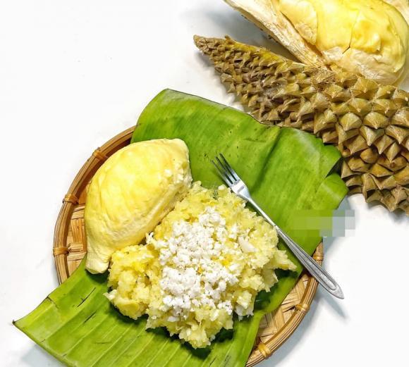 xôi dừa sầu riêng, công thức làm xôi dừa sầu riêng, món ngon từ sầu riêng