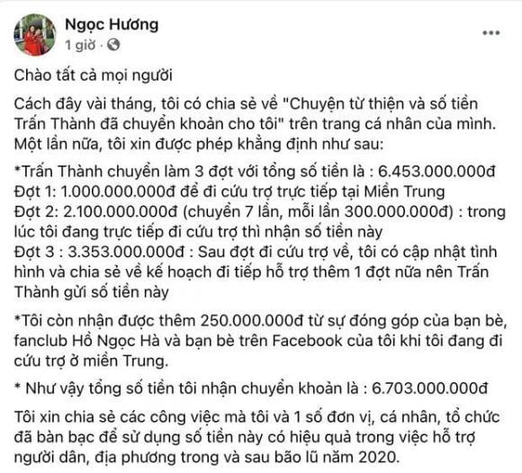 MC Trấn Thành, Sao Việt, Mẹ Hồ Ngọc Hà, Hồ Ngọc Hà, Từ thiện