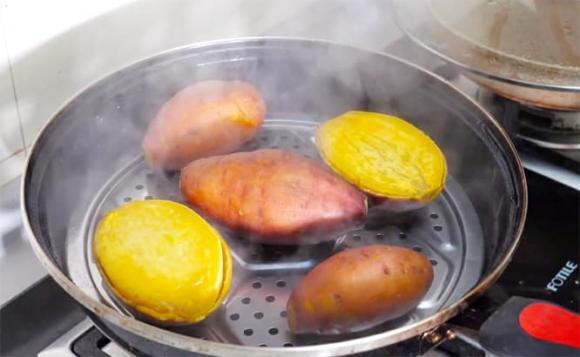 hấp khoai lang, khoai lang, dạy nấu ăn, mẹo nấu ăn