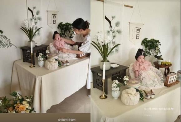 10 năm kết hôn mới có con, mỹ nhân 'Phía đông vườn địa đàng' tổ chức tiệc 100 ngày tuổi cho công chúa nhỏ cưng xỉu
