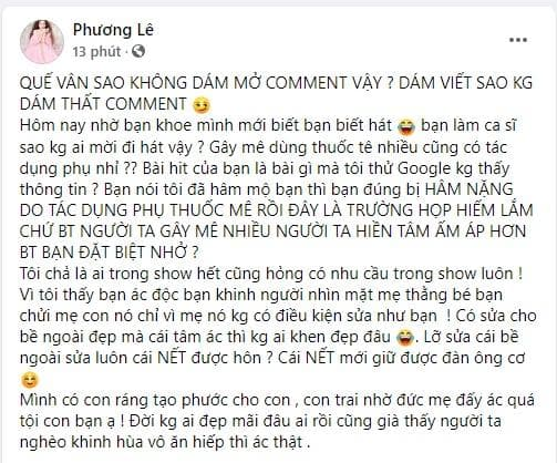 nữ ca sĩ quế vân,Ca sĩ quế vân, hoa hậu Phương Lê, sao Việt