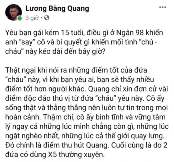 Lương Bằng Quang lần đầu bật mí lí do khiến anh say Ngân 98