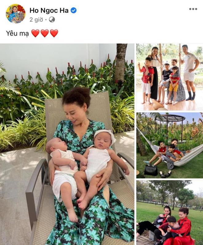 Hà Hồ đăng ảnh đại gia đình du ngoạn, bà ngoại 2 tay bế 2 bé Leon và Lisa cực yêu